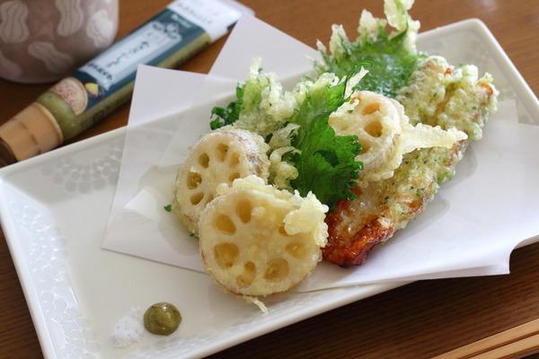 天ぷら3種を「わささんしょう」で|雑穀ごはんの炊きわけ方