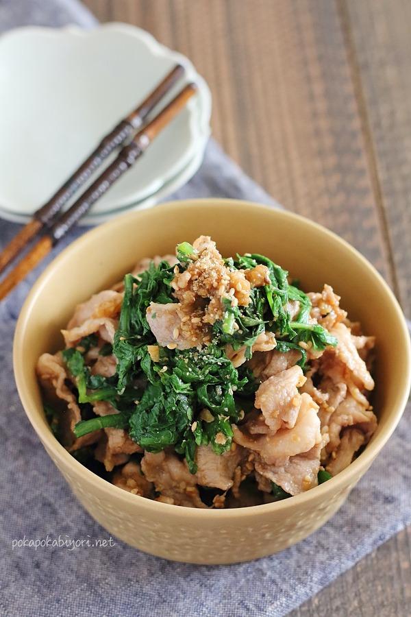 豚と春菊のくるみ味噌和えのレシピ