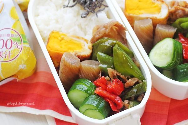 牛肉の甘辛煮の弁当|水耕栽培キット+空芯菜のリボベジ