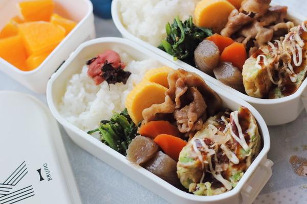 冷めてもおいしいフワフワねぎ焼きのお弁当|米は会津コシヒカリ