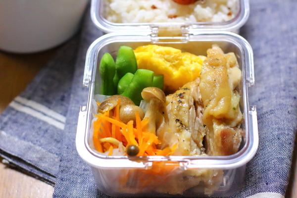 蒸し鶏のヘルシー弁当|植木鉢の空芯菜と種まきレタス