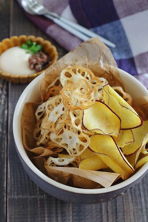 米油で作るレンコンチップスさつまいもチップスのレシピ