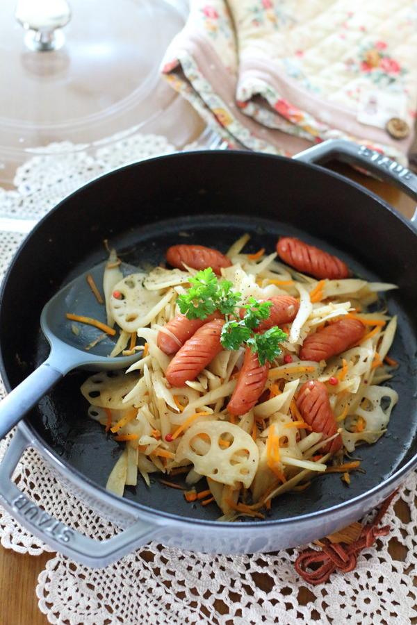 あらびきウィンナーの根菜炒め/冷凍OK!弁当・作りおきにぴったり!