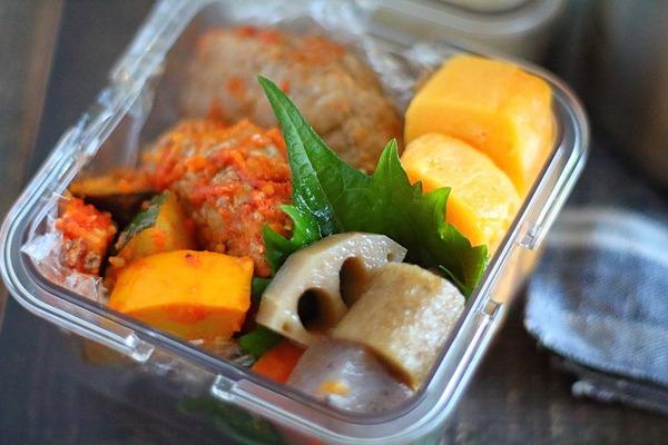 煮込みバーグの夫弁当|大量のミニトマトの消費方法について
