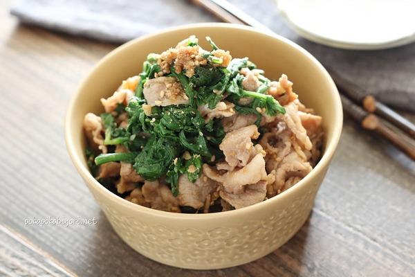 福島県産春菊と豚肉のくるみ味噌和えのレシピ