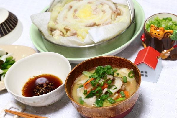 圧力鍋で同時に2品【二段調理】→豚汁&白菜と豚肉のミルフィーユ蒸し