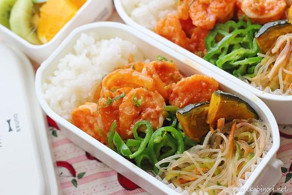 エビチリと中華風春雨サラダの絶品弁当|今日の作り置き度は75%