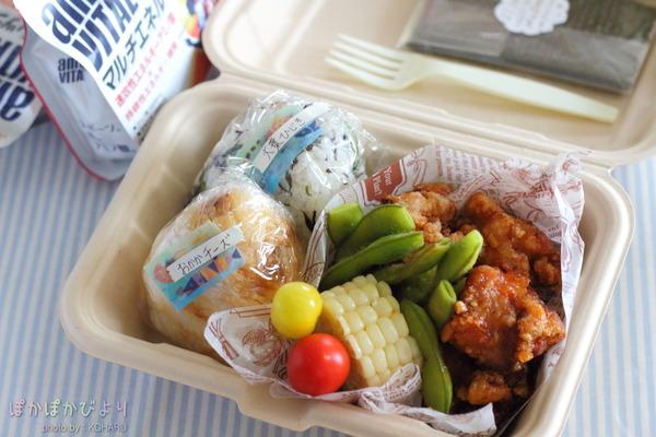 合宿につき使い捨てフードパックで唐揚げ&おにぎり弁当