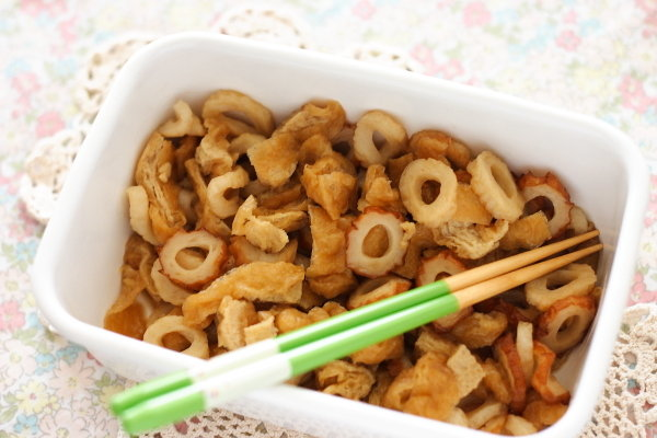 冷凍ストック可:【ちくわとうすあげの甘辛煮】/きつねうどん~卵とじ丼に!
