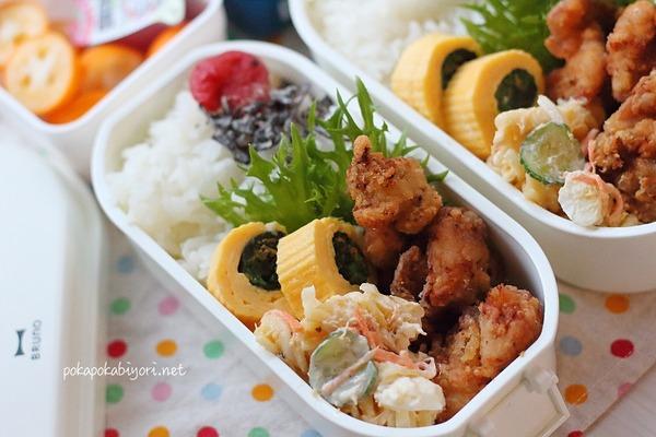 唐揚げ弁当|ほうれん草入り卵焼き(レシピリンクあり)