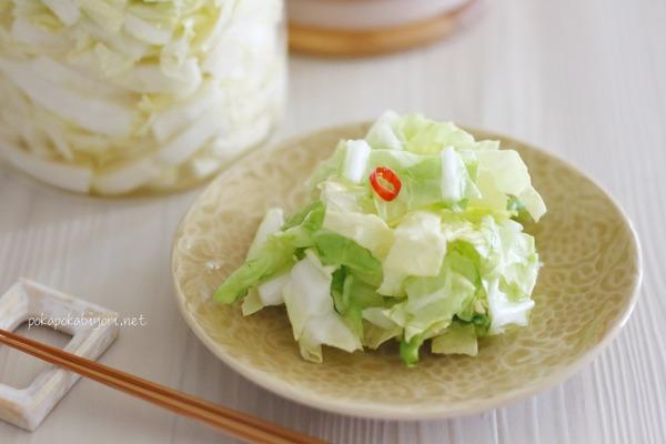 白菜甘酢漬けレシピ+天ぷら献立写真|みつばはスポンジごと土に植えて放置で育成中