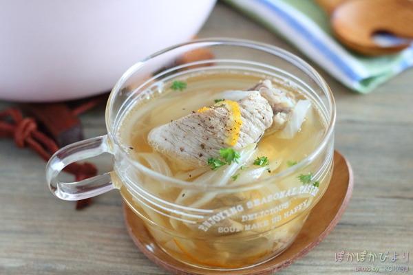 スペアリブのあっさりスープ(隠し味にマーマレード)/15秒で作るピクルス