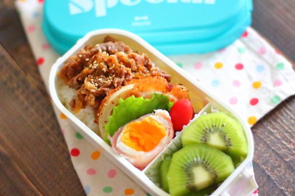 【レシピあり】牛丼弁当・レンジベーコンエッグ