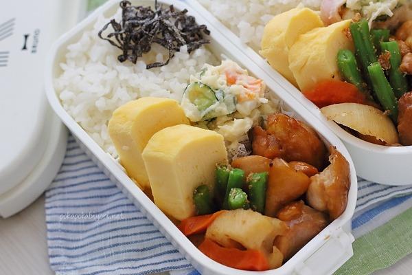 鶏照り煮の高校生弁当|おかずの詰め方(実はいつも卵2段です)