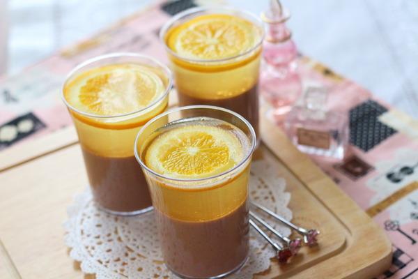【低糖質】オレンジとチョコの2層プリン