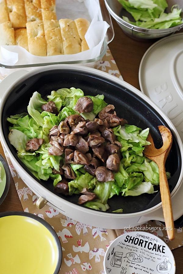 砂肝とキャベツの炒め物