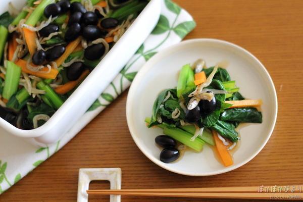 小松菜×じゃこ×豆のお浸し/琺瑯容器を鍋代わりに。