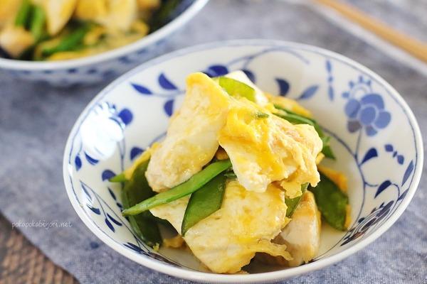 フライパンで簡単♪【きぬさやと豆腐のチャンプルー】レシピ