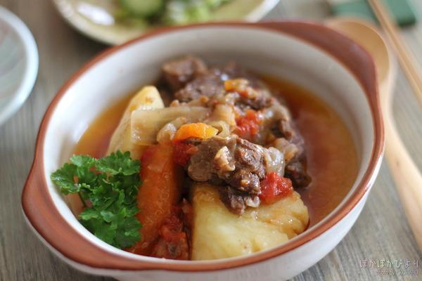 やわらか牛トマト煮|うちの鍋の収納方法(手前に置いて出し入れ簡単)