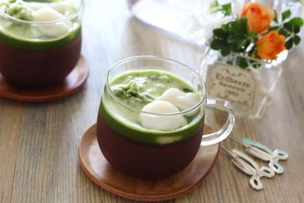 抹茶氷と白玉団子付き【水ようかん】レシピ