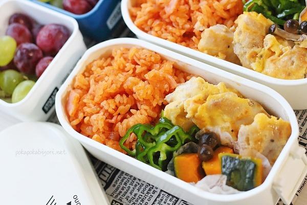 鶏肉のチーズピカタ(レシピあり)・ケチャップライスの高校生弁当