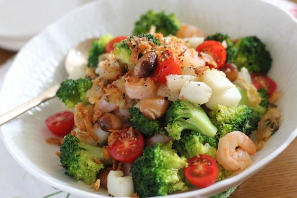 シーフードミックス使用の豆サラダ|冷凍シーフードミックスの美味しい解凍方法