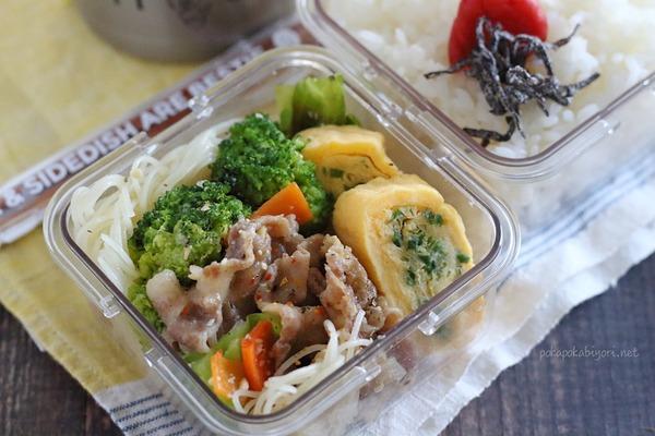焼きビーフン弁当|焼きビーフン肉多め+卵焼き←品数少ない^^;