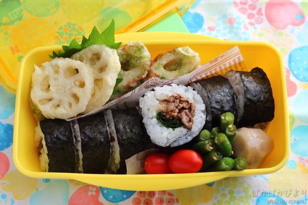 肉巻き寿司(誕生日のお弁当)