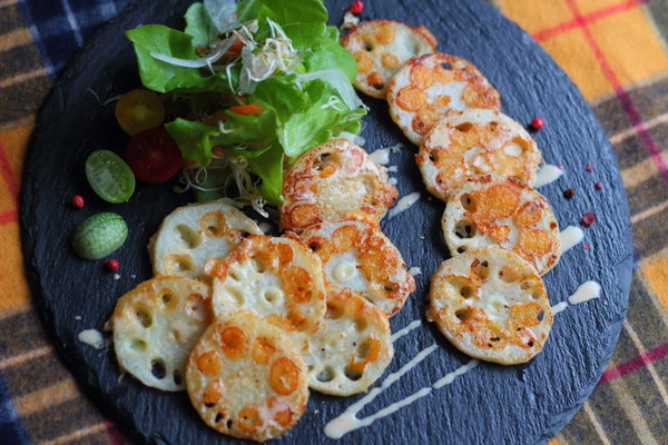 れんこんのチーズ焼き~ポン酢マヨネーズがけ