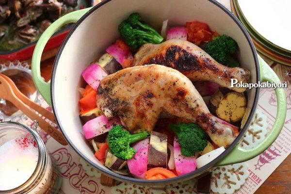 1つの調味料だけで【クリスマスチキンと彩り野菜の無水煮】