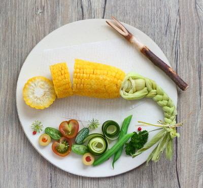 三つ編みコーン で野菜プレート