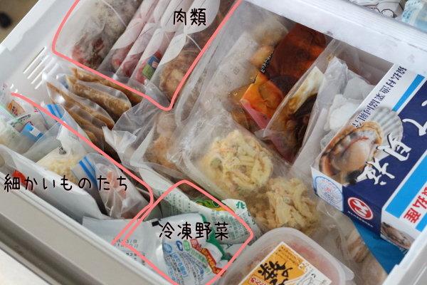 朝の弁当作りが楽になるように整理している冷凍庫の中身