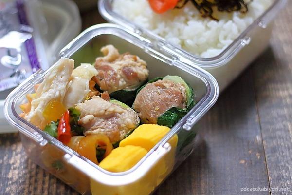 作り置きで簡単弁当(夫弁当) 豚肉の青梗菜巻き、たまねぎの甘酢炒め