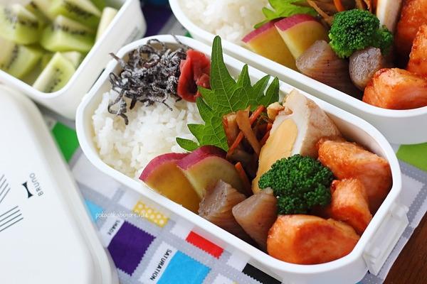 鮭ムニエル・レンジこんにゃく煮の簡単弁当【レシピあり】