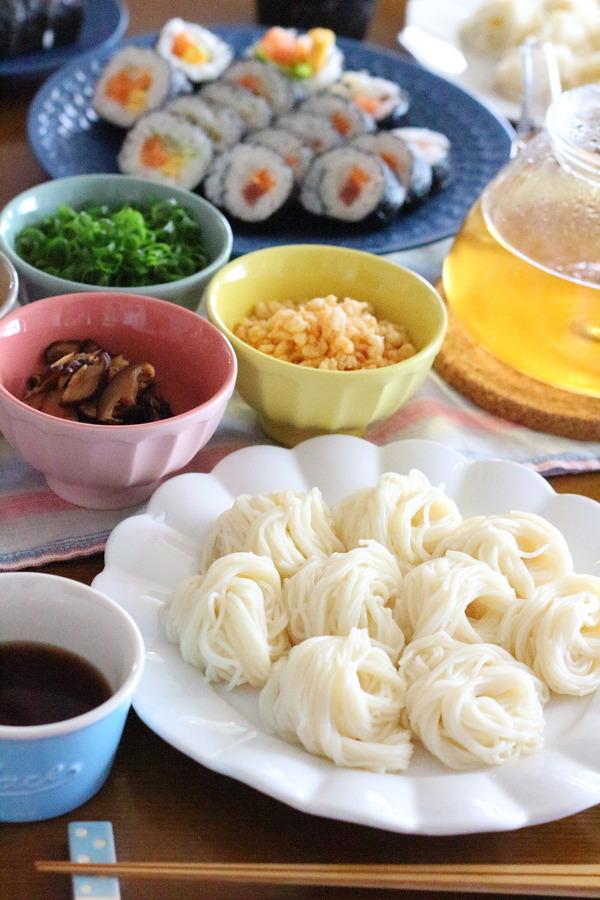 七夕やそうめんの由来の話/買い出しに行った食品の写真・冷蔵庫の写真
