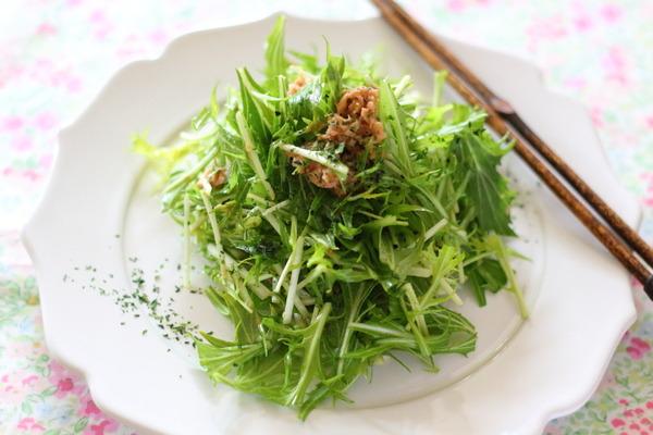 ツナ缶の油の栄養価 &それを活用した【水菜シャキシャキサラダ】レシピ