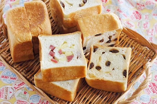 キューブパン3種類同時焼き|レーズン・サラミチーズ・チョコチップくるみ