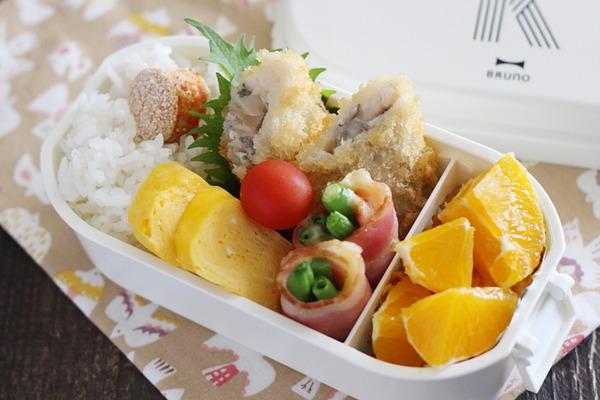 白身魚フライ弁当|弁当の明太子はレンジで火を通すと楽ちん!