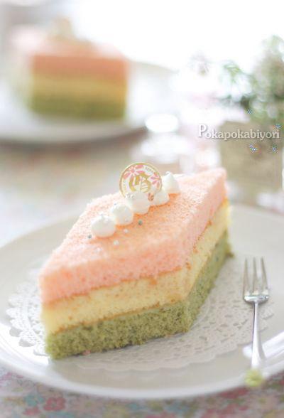 ホワイトチョコレート味の 3色ひなケーキ