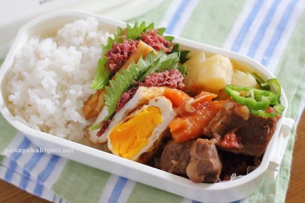 練り製品のコンビーフサンド(←絶品な弁当おかず!)とか牛肉のホロホロ煮の高校生弁当