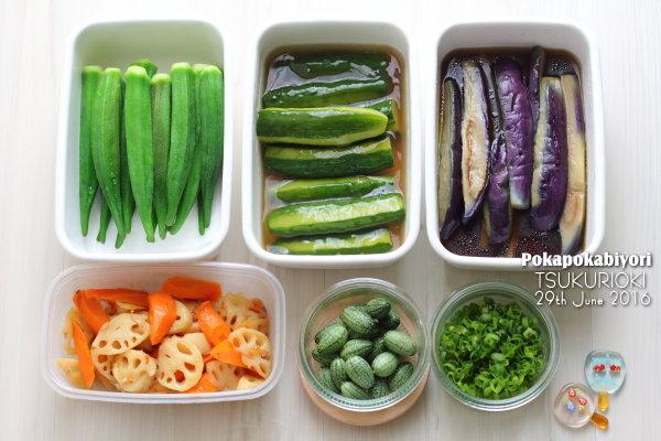 夏野菜を使った作り置きたち~きゅうりの冷製出汁浸し