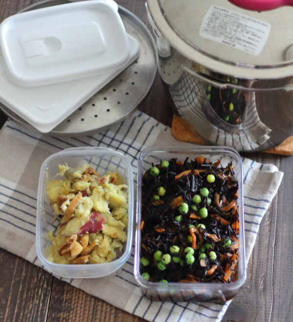 【レシピ動画】圧力鍋の2段調理|1分だけの加圧で作り置き2品!