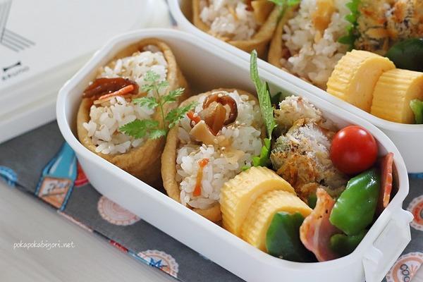 いなり寿司と白身魚のパン粉焼きのお弁当