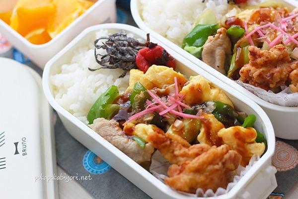 肉野菜炒めの簡単弁当|唐揚げは以前作ったときに冷凍しておいたもの