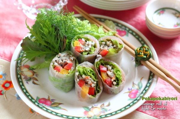 黒ごま根菜サラダを巻いた【生春巻き】