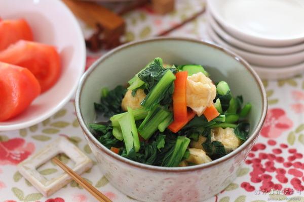 小松菜とうすあげの簡単和え|キャベツの重ね煮