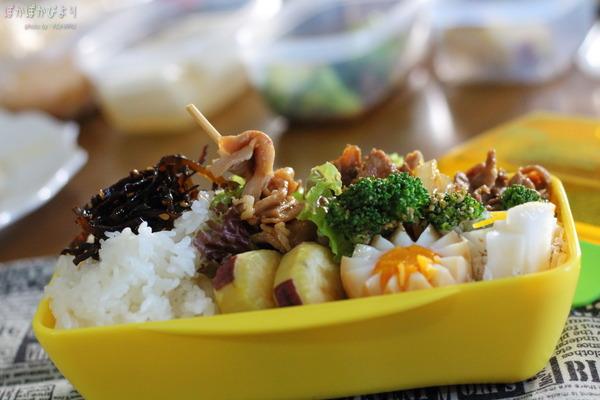 ジンギスカン&味玉の高校生弁当/おかずたっぷりな肉弁