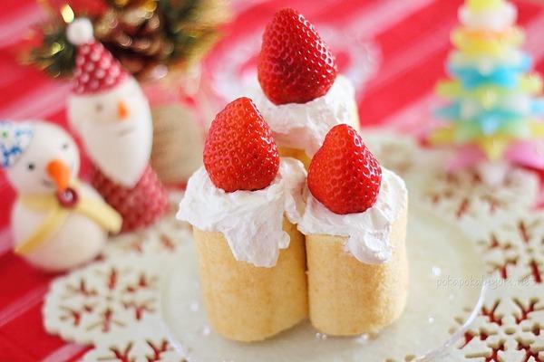 キャンドル風ケーキ|細いロールケーキを立てて簡単盛り付け♪