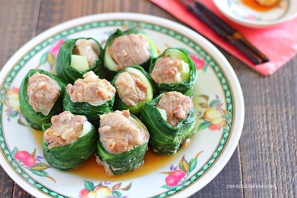 豚肉の青梗菜巻き|青梗菜でくるっと巻いて一口サイズに!