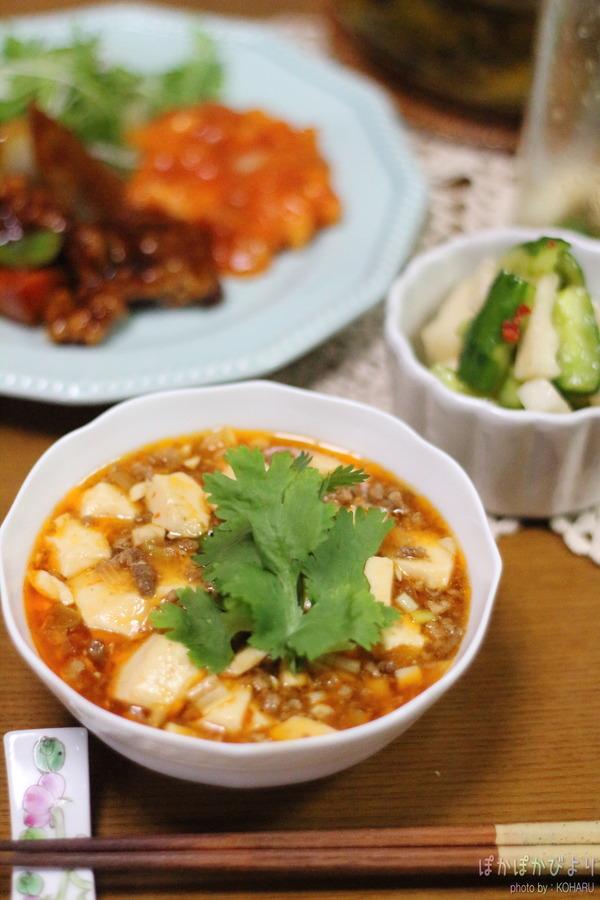 息子が作ってくれた麻婆豆腐/糖質96%オフの麺:ソイドル
